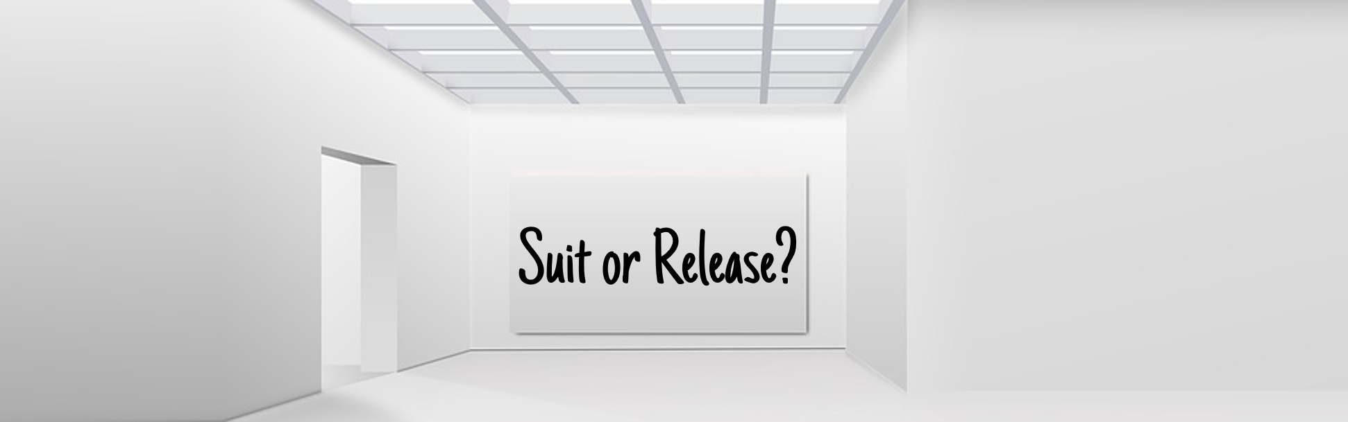 A picture containing indoor, cabinet, wall, facing sign that reads Suit or Release?