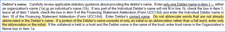Instructions for Debtor Section of UCC